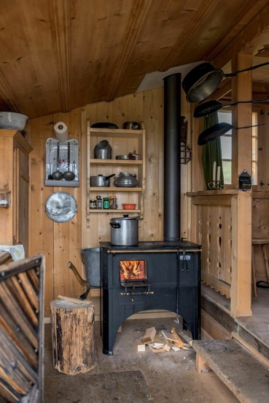 Rugged Wood Burning Stove In Cabin