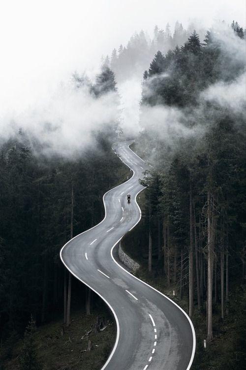 cyclist riding on foggy road