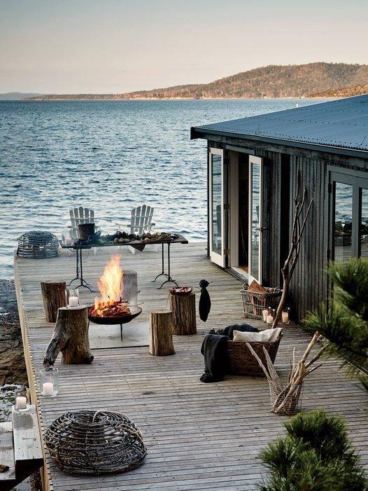 deck on lakeside cottage