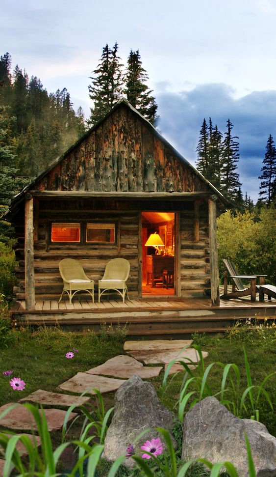 a cozy cabin in the woods