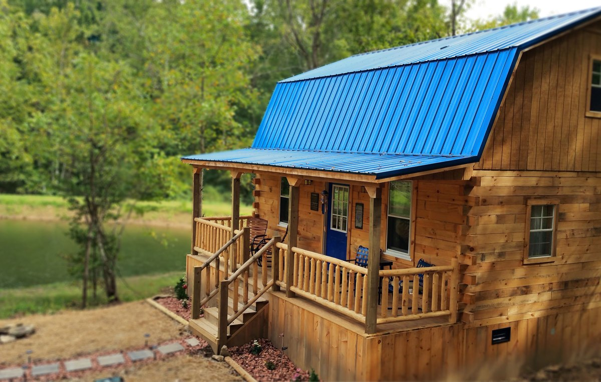 blue roof cabin