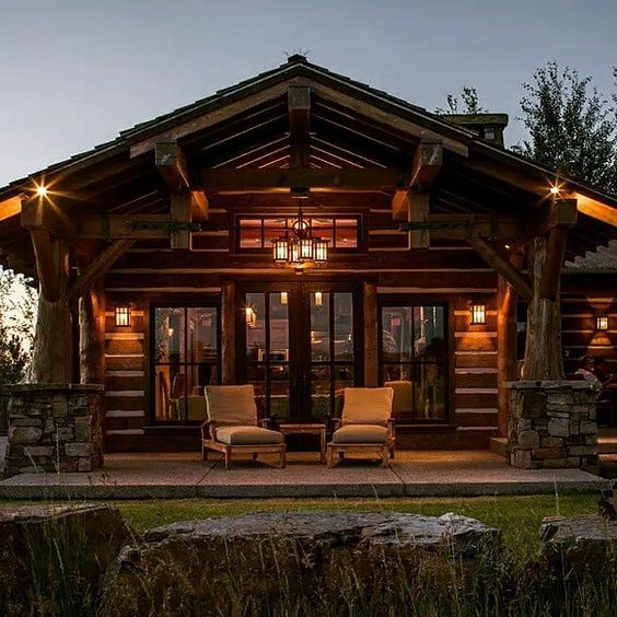 comfortable cabin porch