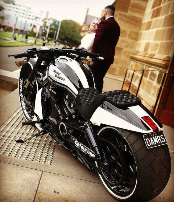 fat black and white harley davidson motorcycle
