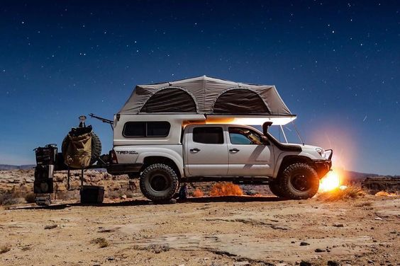 truck with truck tent on top