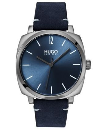Hugo Mens Own Blue Leather Strap Watch 40mm