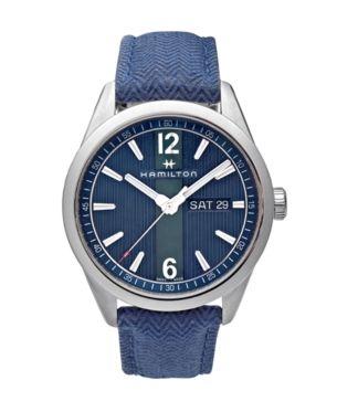 Limited Edition Hamilton Mens Swiss Broadway Blue Fabric Strap Watch 40mm