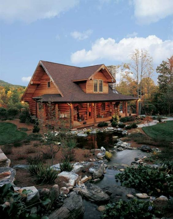 cabin and creek