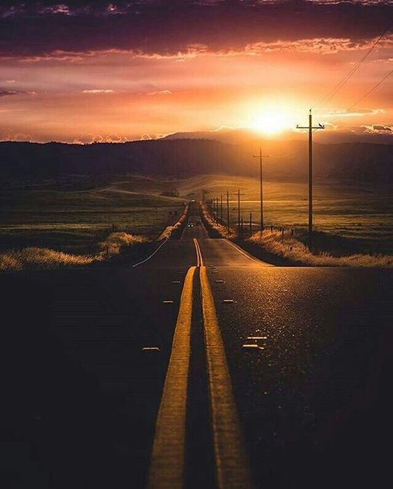 long road and sunset