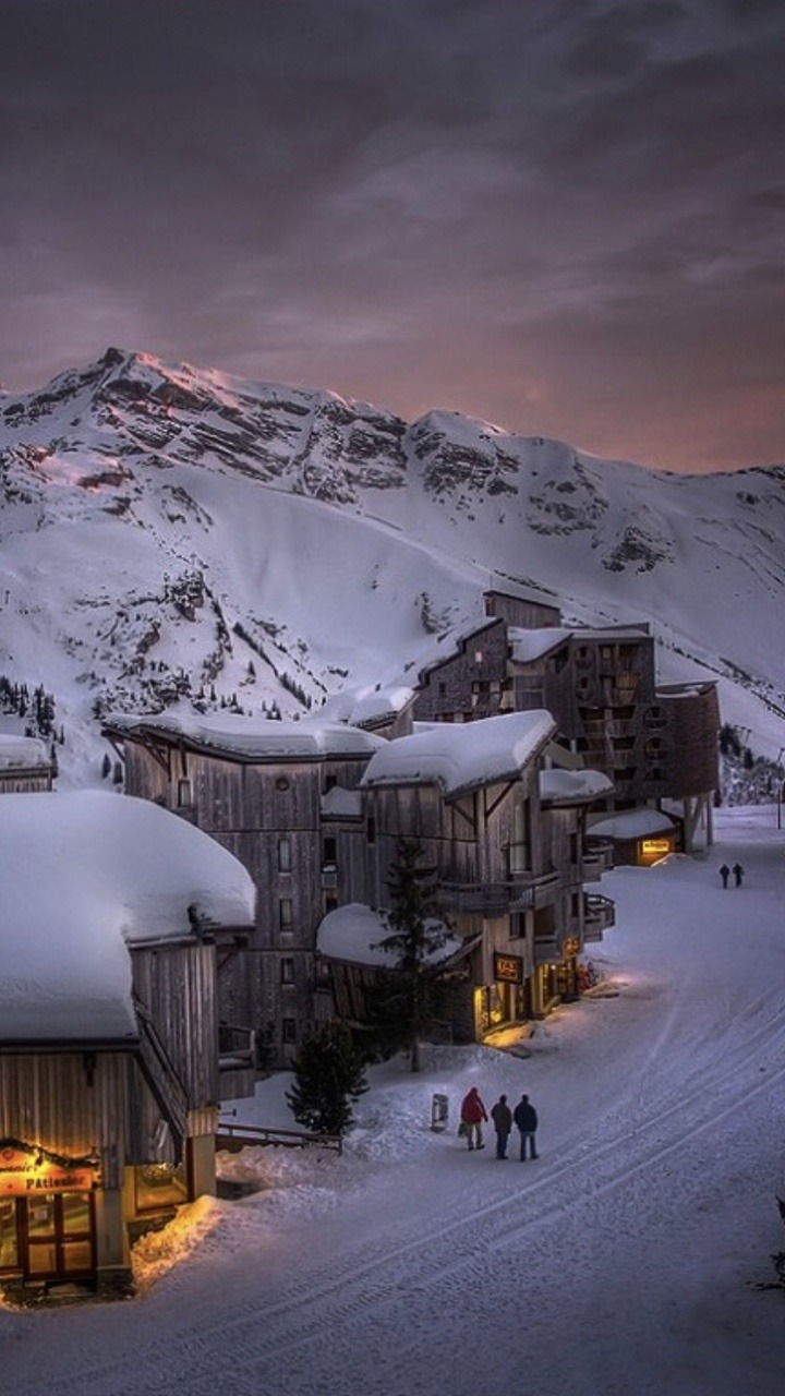 snow covered mountain village
