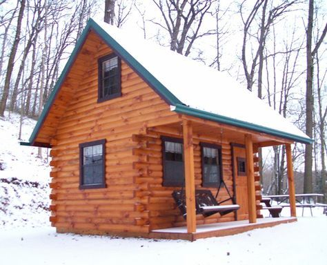 tiny cabin in the snow