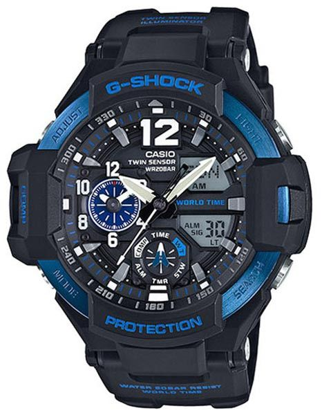 Casio G-Shock Black Case Blue Accents Analog Digital Mens Watch