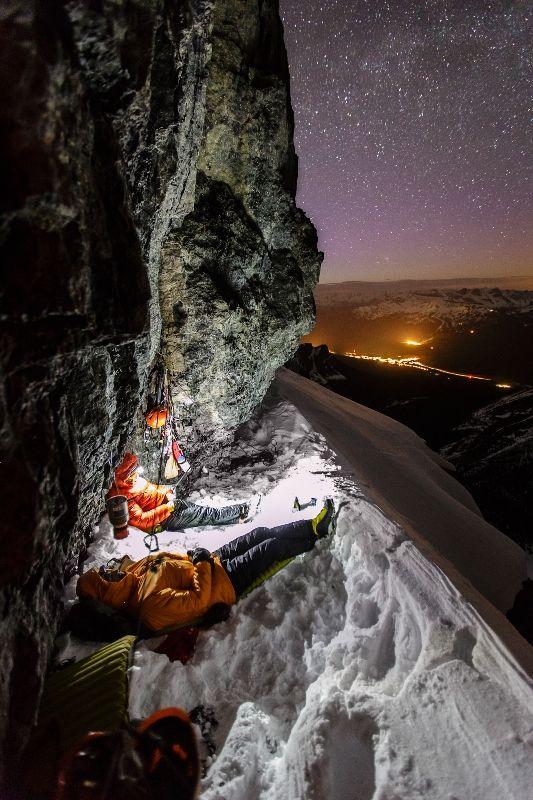 climbers sleeping on the mountain
