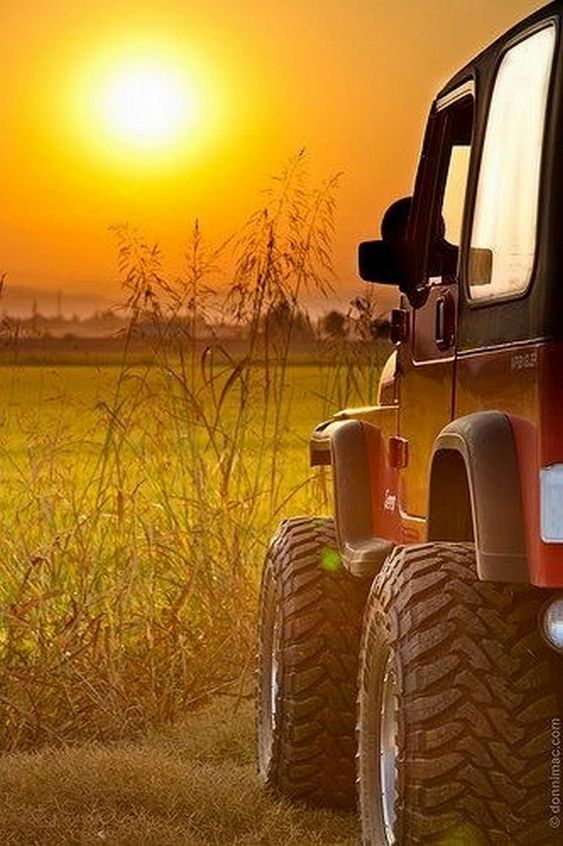 jeep and sunset