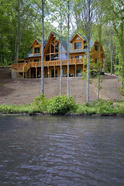 large rustic home on a lake