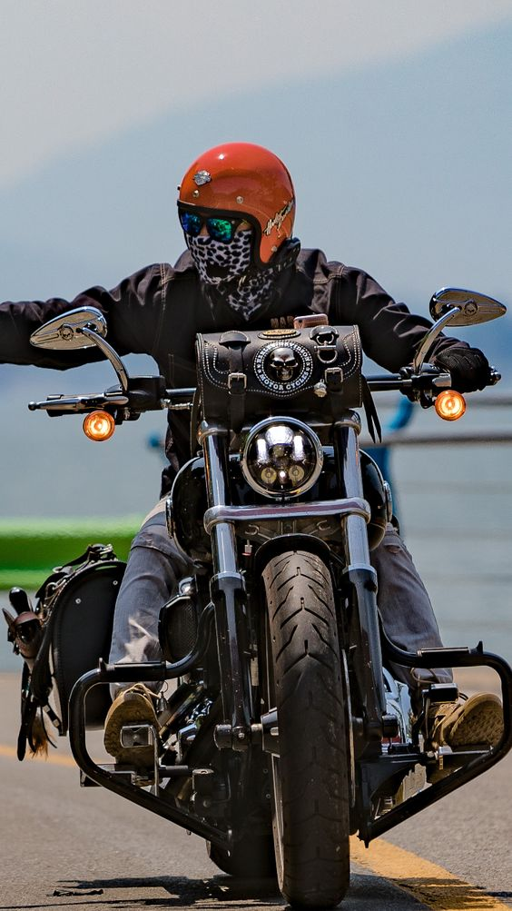 man out for motorcycle ride