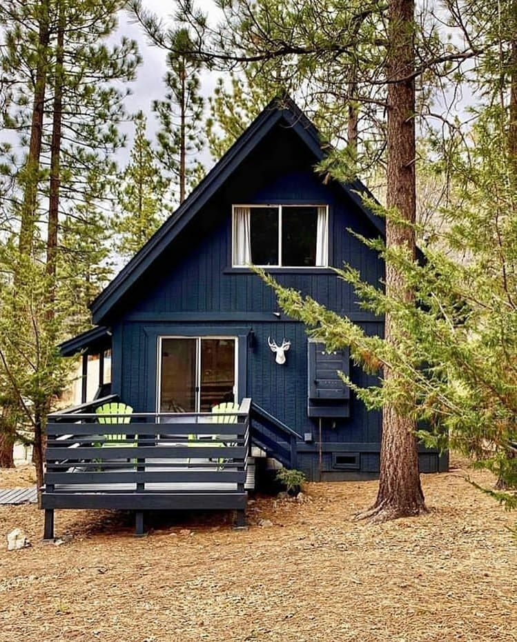 blue cabin in the woods