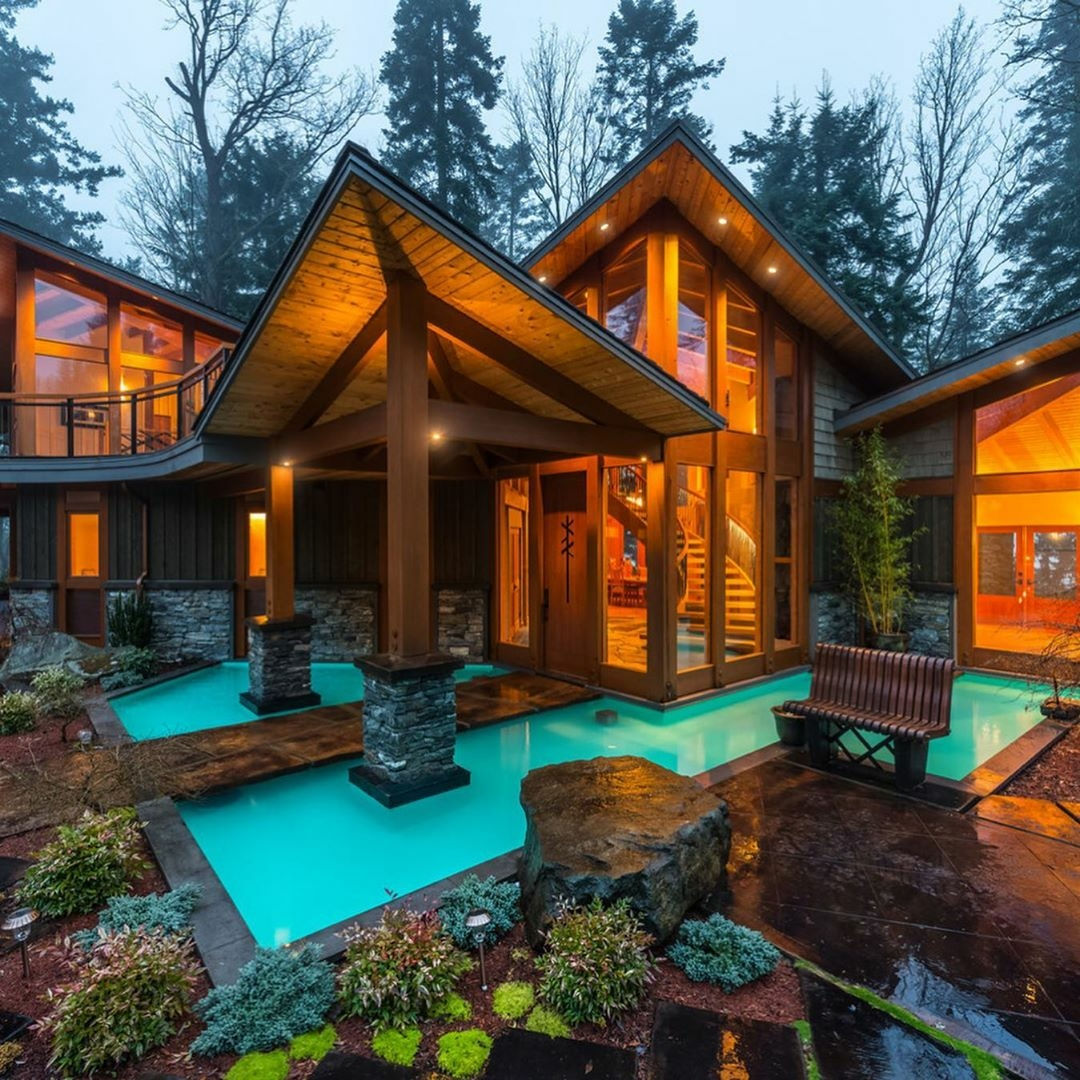 custom home in woods