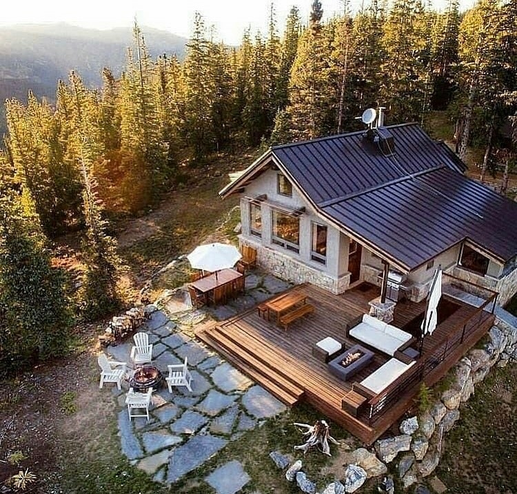 top down view of a cabin in the woods