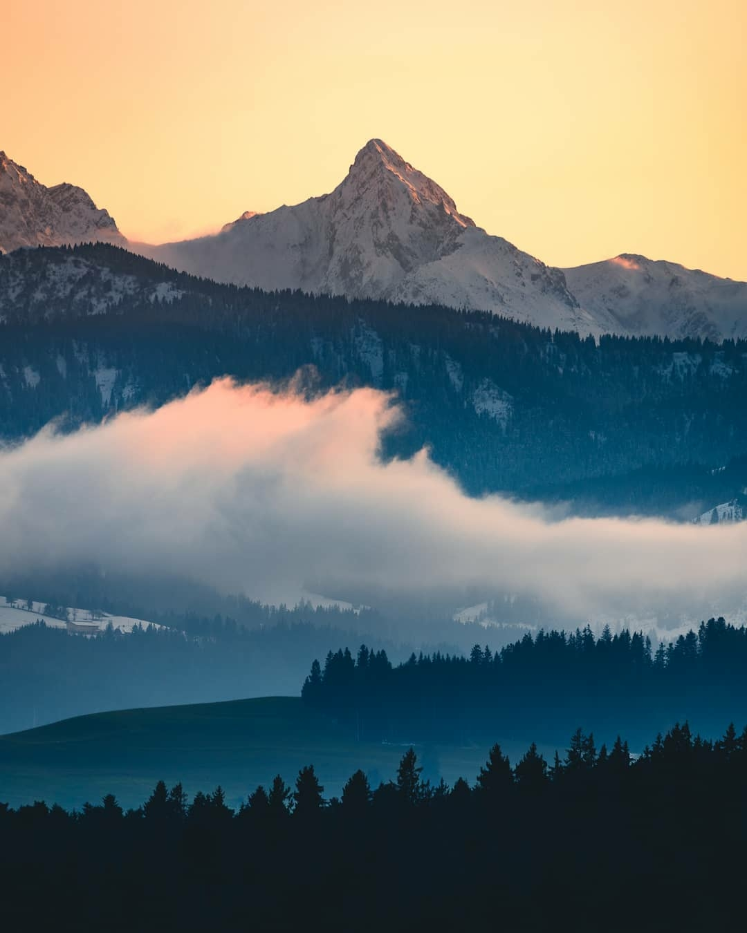 misty mountain scene