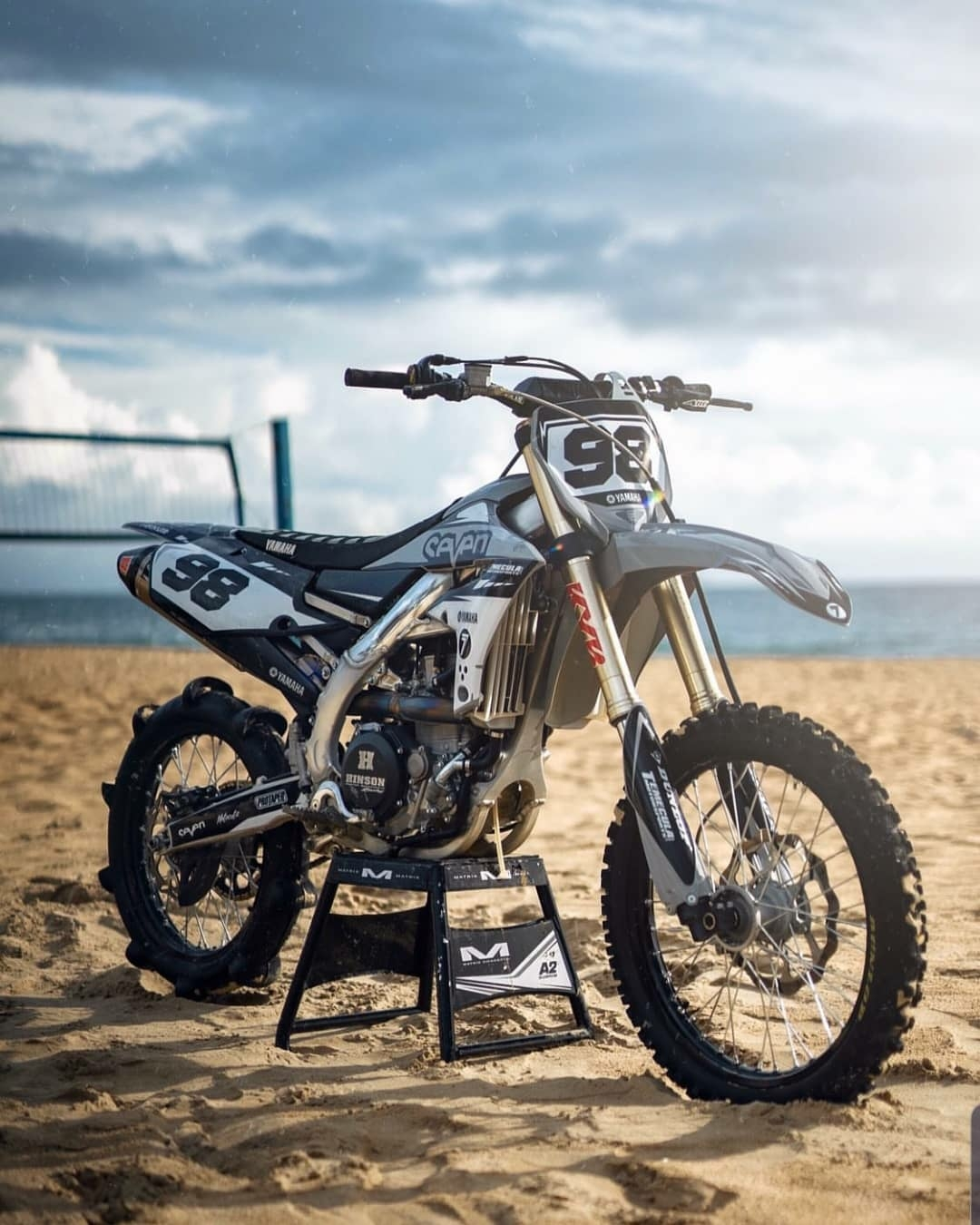 Yamaha dirt bike on beach