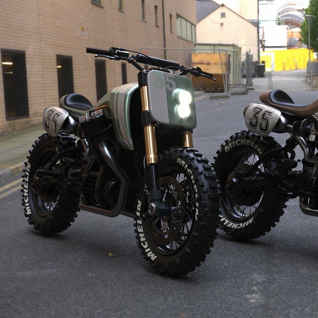a couple of burly honda motorcycles