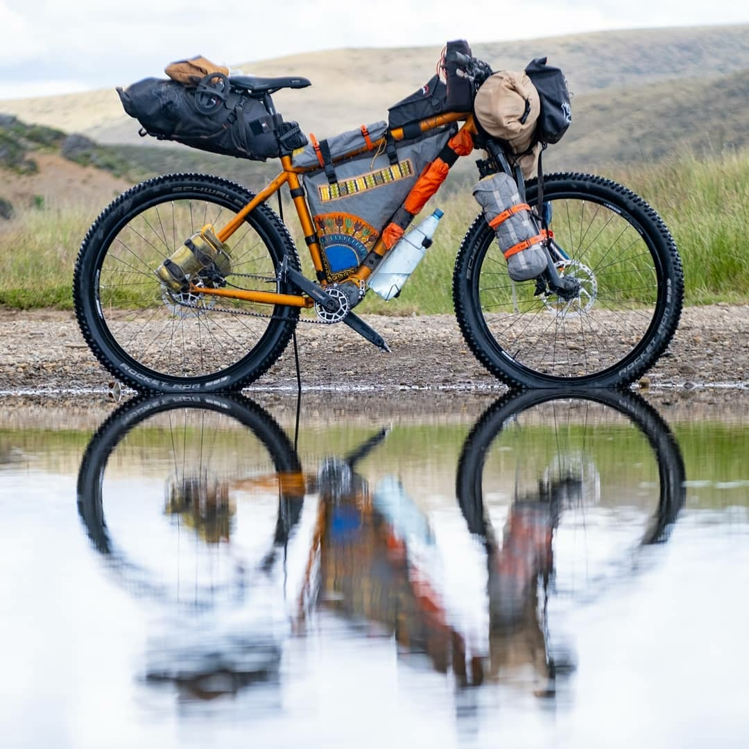 road bike with reflection