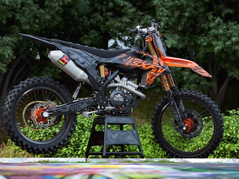motocross bike on stand