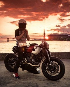 the manly life - man on motorcycle sunset