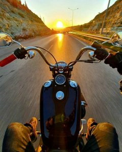 the manly life - man riding down road on harley