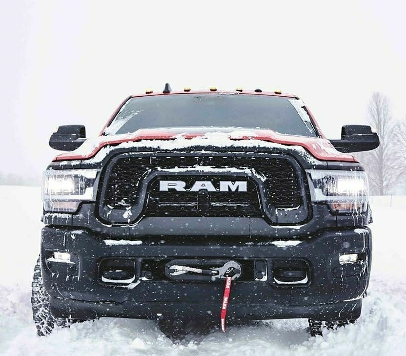 front end of dodge truck in snow