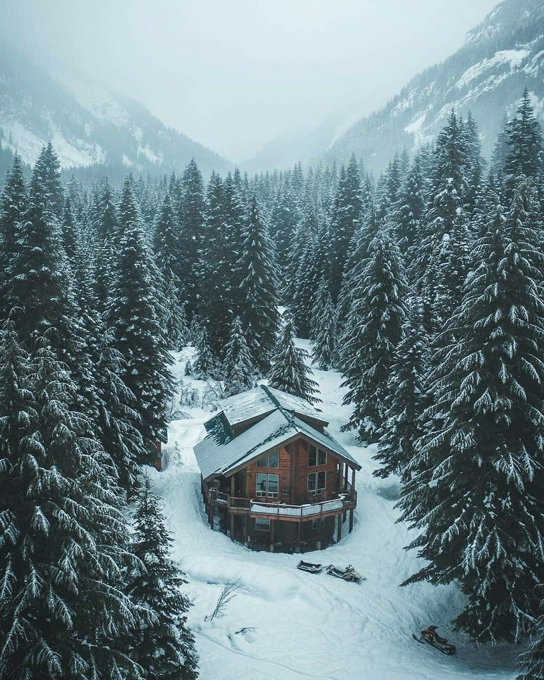 large cabin in the snow
