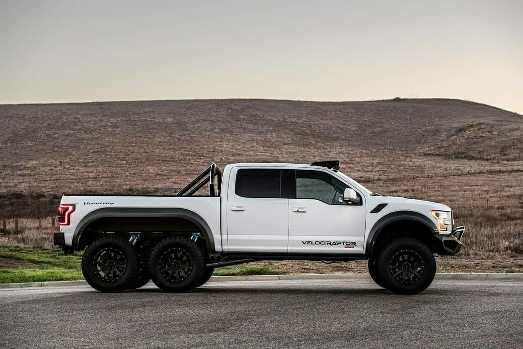 huge white hennessy ford raptor truck