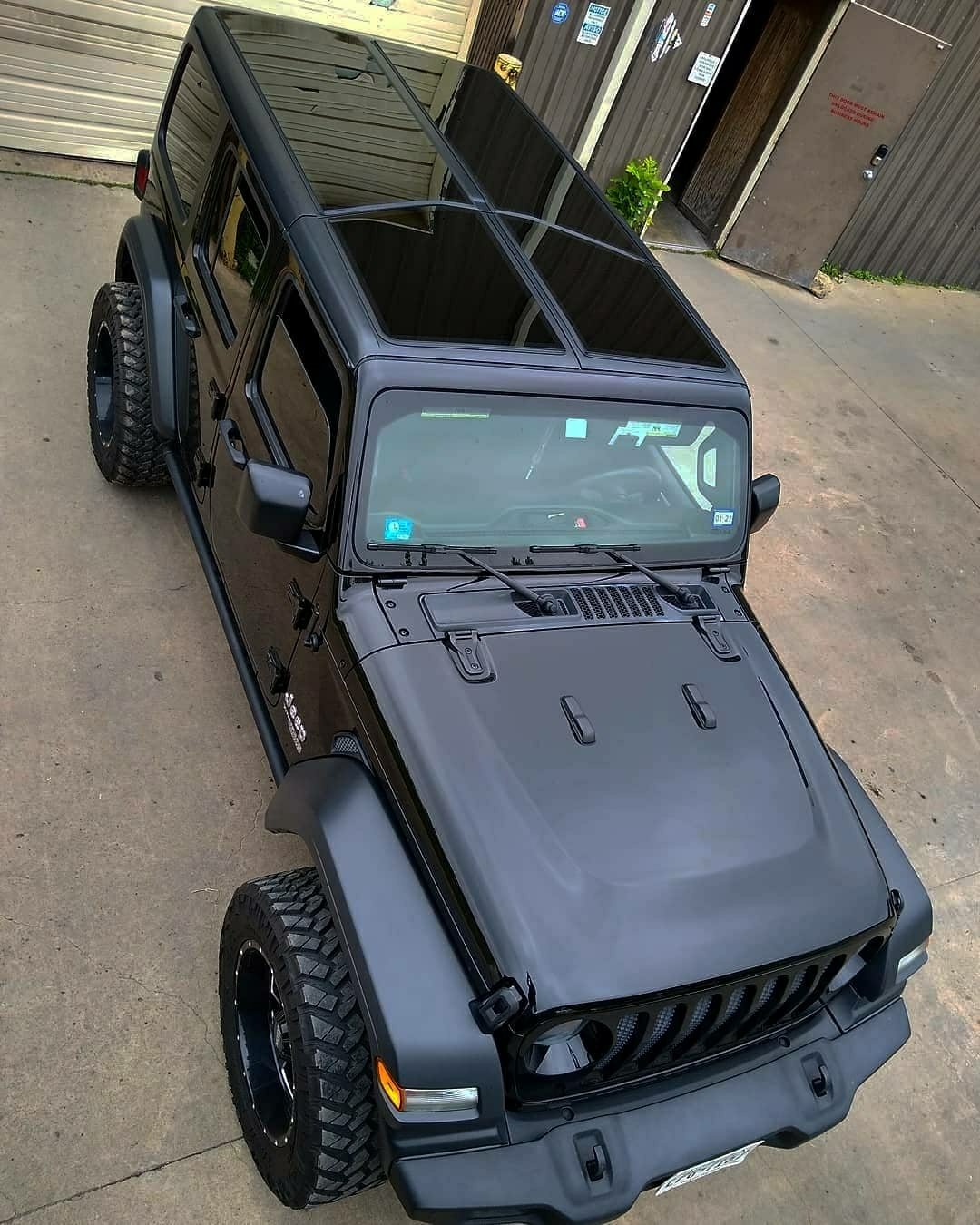 overhead shot of black jeep wrangler