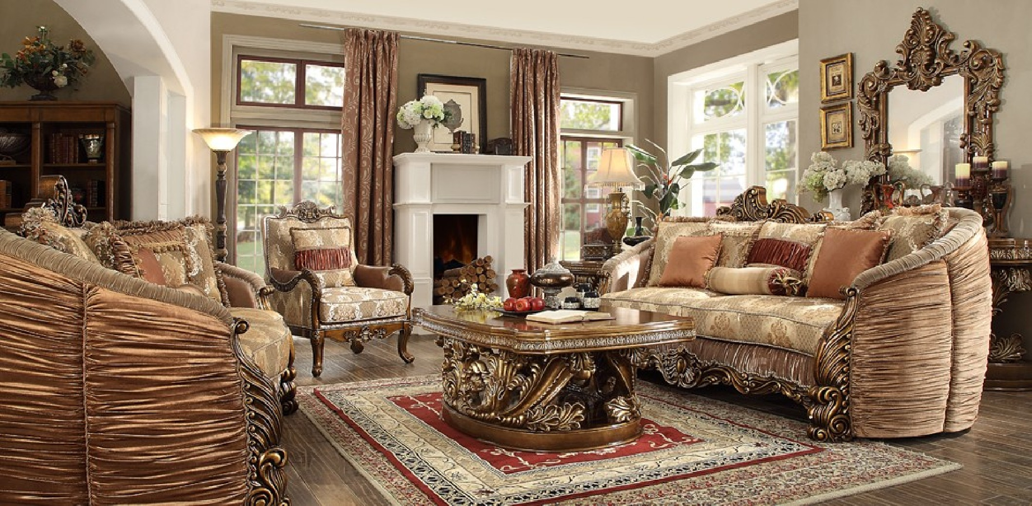 HD 1601 Homey Design Upholstery Living Room Set Victorian