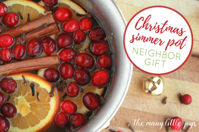 Do you exchange gifts with your neighbors at Christmas? Rather than a traditional cookie plate, try giving the gift of a yummy smelling house. A Christmas simmer pot kit is a simple to make, inexpensive, and useful gift that anyone can enjoy.