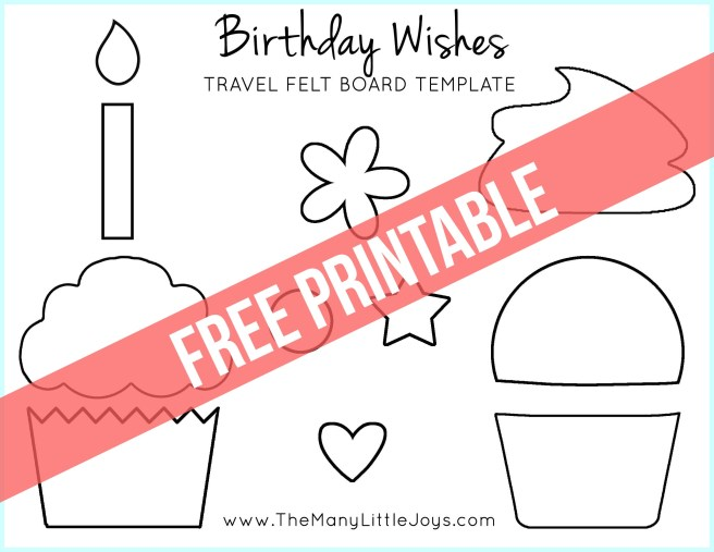 "Travel felt boards are a great activity for kids stuck on a plane or waiting in a restaurant. This fun ""Birthday Wishes"" cupcake play set is a celebratory addition to the felt board sets I've shared in the past."