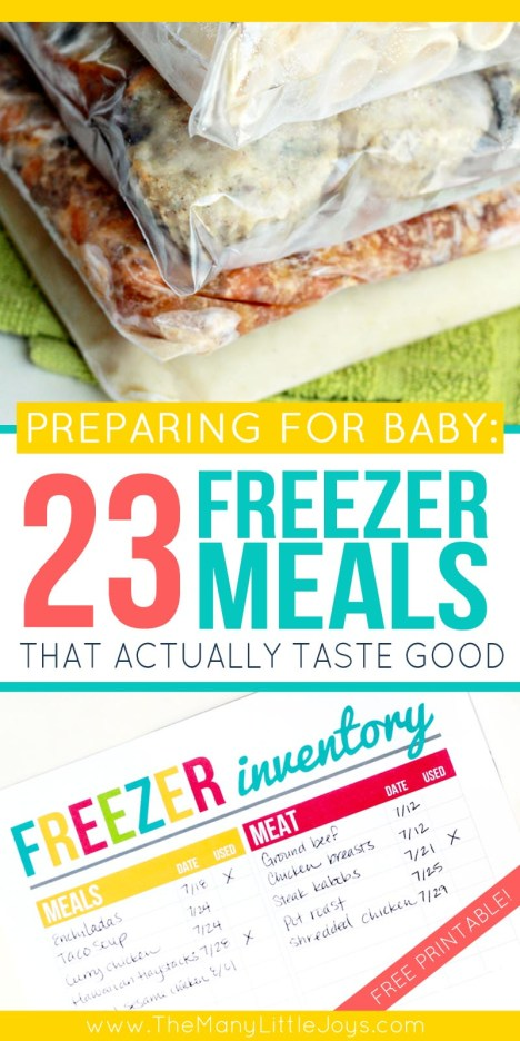 Whether you're preparing for a new baby or just trying to manage the after-school rush, these 23 recipes for freezer meals that actually taste good (along with my free printable freezer inventory) will help make your busy days just a little more manageable.