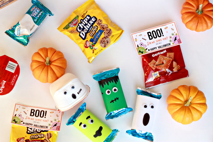 Ready for Halloween? These festive Halloween treats can be made in less than five minutes, and they're perfect for class parties, neighbor gifts, or trick-or-treaters!