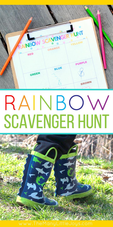 Rainbow color scavenger hunt for preschoolers - The Many Little Joys