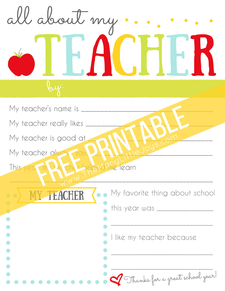photo about All About My Teacher Free Printable titled A Easy Significant Trainer Appreciation Reward - The Plenty of
