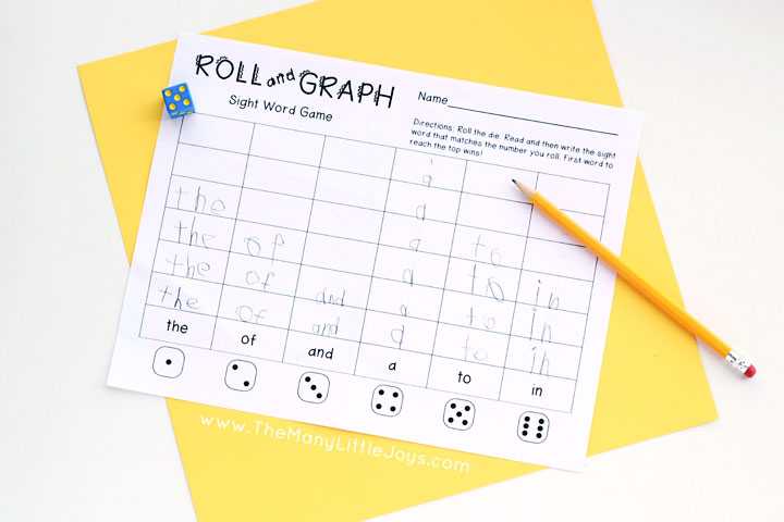 picture relating to Printable Sight Word Game identified as Roll and Graph\
