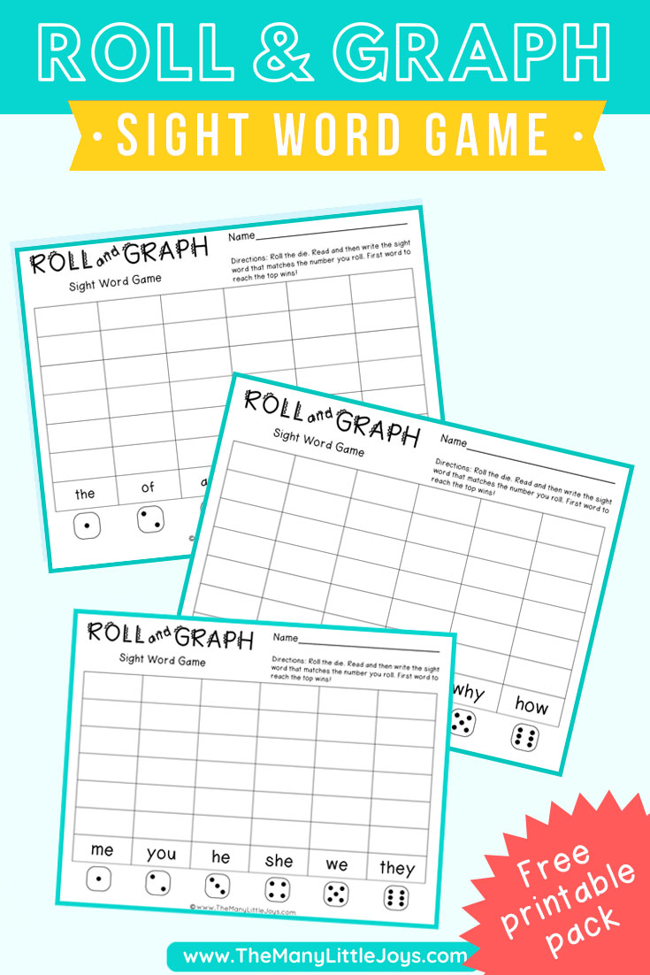 image about Printable Sight Word Game titled Roll and Graph\