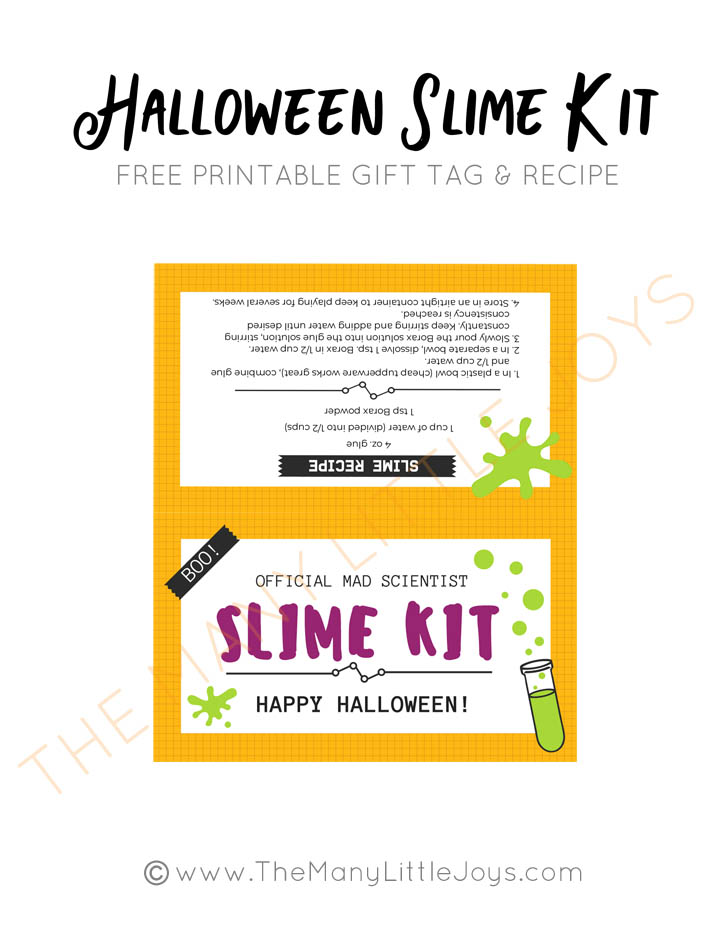 photograph relating to Slime Recipe Printable named Do-it-yourself Halloween Slime Package (with totally free printables!) - The A lot of