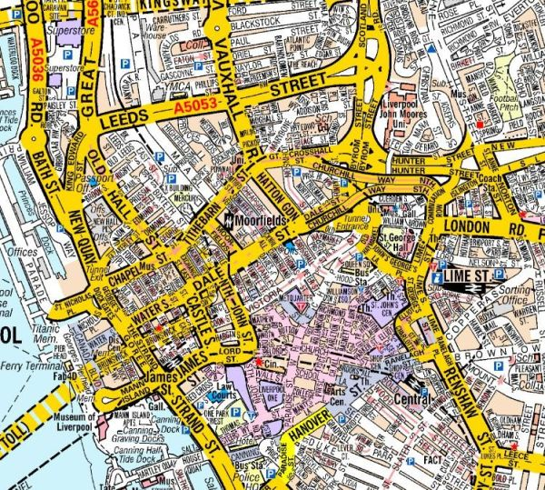 Liverpool A Z Wall Map