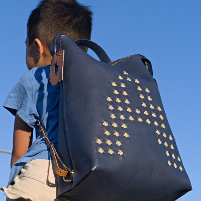 Bamboo Woven Leather Backpack