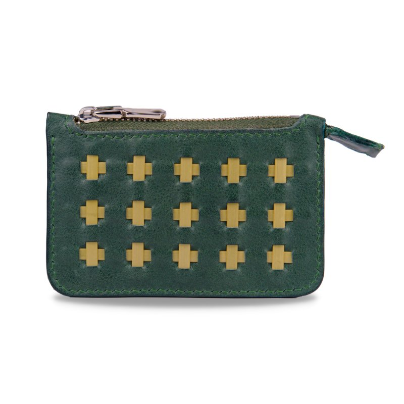olive green zipper wallet and bamboo
