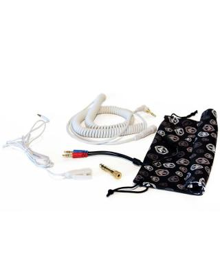 Included are a coiled DJ cable, thinner mobile cable, 1/4 inch adapter, and carrying bag