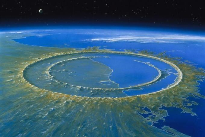 The Chicxulub crater in the Yucatán Peninsula, the site of the impact that decimated the dinosaurs.(Illustration: Detlev van Ravenswaay / National Geographic)