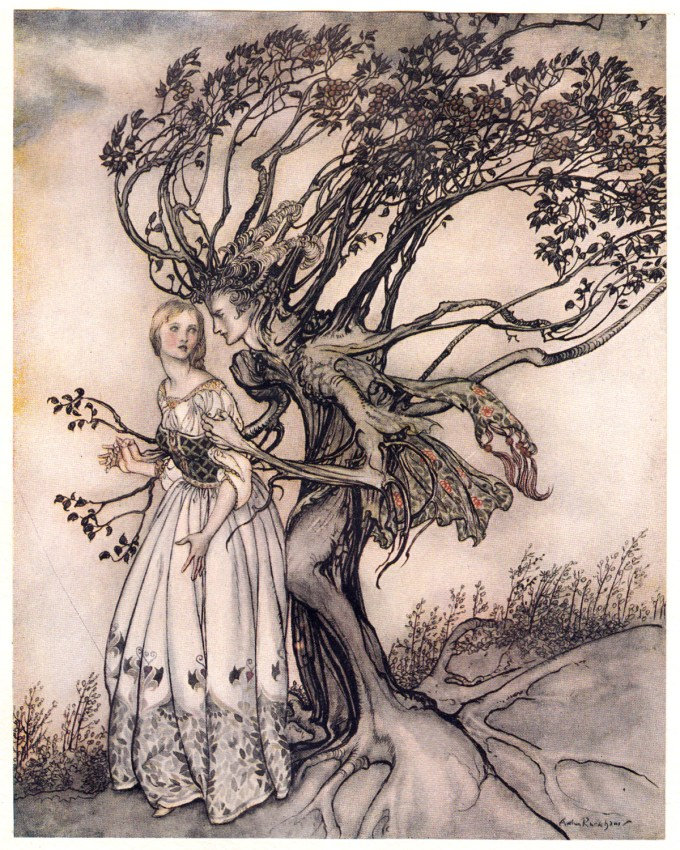"""The Old Woman in the Wood: """"Suddenly the branches twined round her and turned into two arms."""""""
