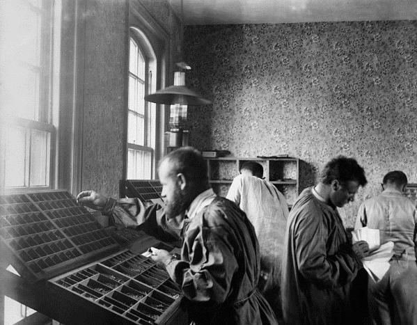 Vladimir Chertkov working at the Free Age Press workshop, 1902